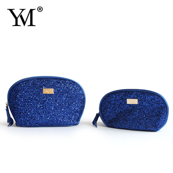 2015 fashion toiletry your logo zippered blue cosmetic bag promotional gift ladies purse