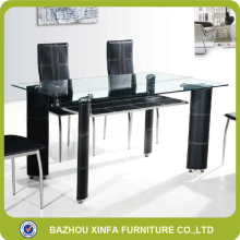 Elegant 6-8 seater double layer tempered glass dining table and chairs