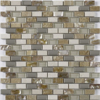 MBB4019 Brick Beige Glass Mosaic and Stone Wall Mosaic Popular Item In North America