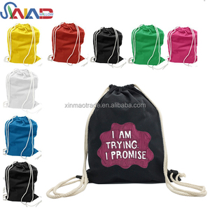 High Quality Black Cotton Drawstring Bag With Custom Printing,Canvas Drawstring Backpack School Bag