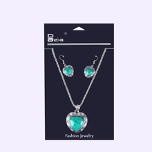 handmade long turquoise heart pendant necklace costume jewelry set for women