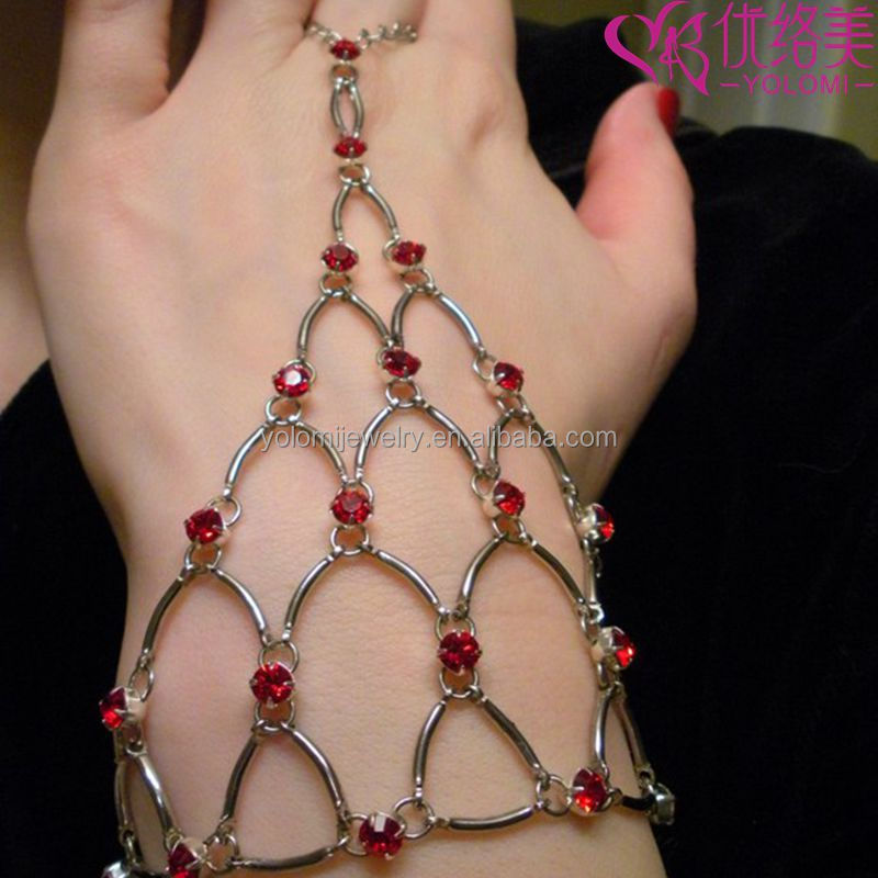 Finger Hand Chain Bracelets Bangle Chain Maille Eternity Bracelet in Red Crystal Harness Bracelets 1107L