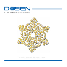 Shiny Bling Giltter Snowflake Shape Clear Rhinestone Metal Badge Metallic Pieces Decorations for Garment Leather Bag Bracelet