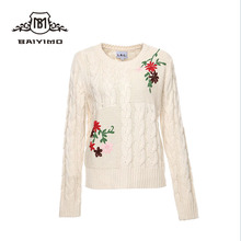 Cable Knit Design of Hand Made Embroidery Flower Womens White Sweaters Oversized
