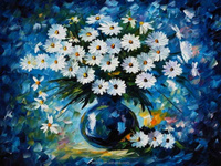 Daisies flower oil painting for wall decoration