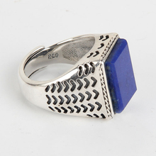 SJ Bring Inspiration for Intellectual workers Men Vintage Ring 925 Sterling Silver Blue Natural Real Gemstone Lapis Lazuli Ring