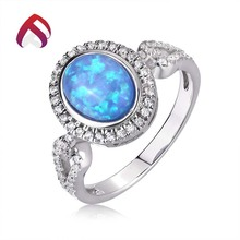 China manufacturer blue opal jewelry sterling silver oval opal gemstone rings