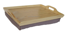 Hot Selling Pine Wood Breakfast Lap Bed Tray with Bean Bag Cushion Lap Tray