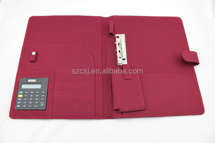 2018 Fashionable red cloth fabric 600D file folder with calculator