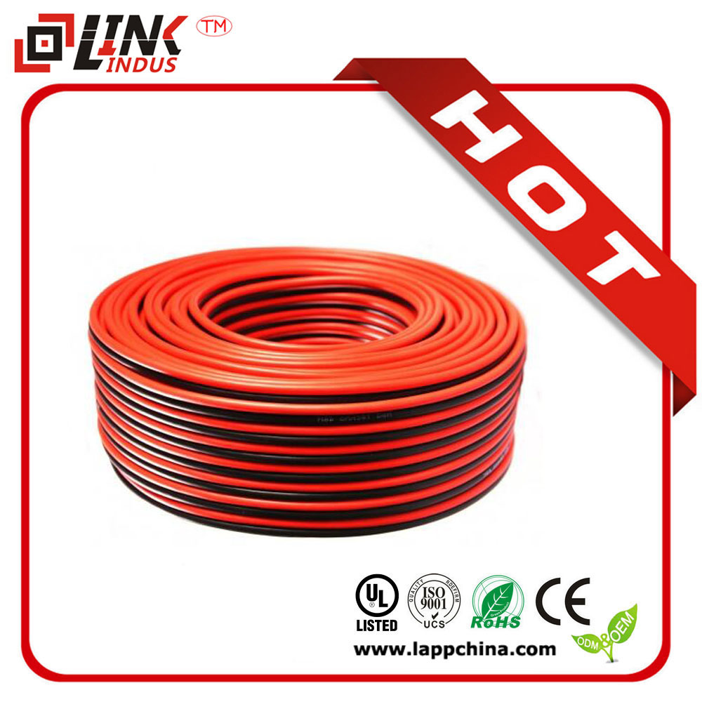 2cores flat transparent speaker cable/KTV meeting room sound cable/red and black speaker wire