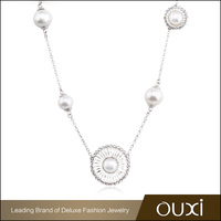 Wholesale Imitation Jewellery OUXI Latest Simple Design Pearl Necklace