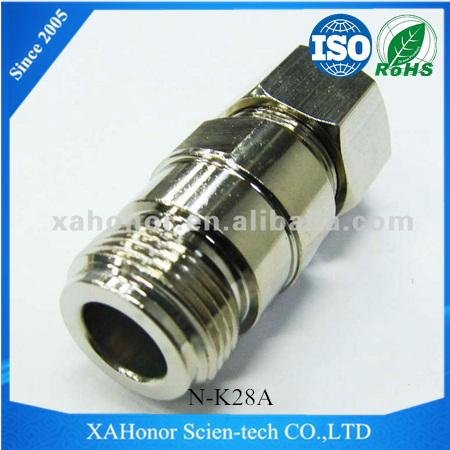 brass nickel plated N type RF Connector female straight