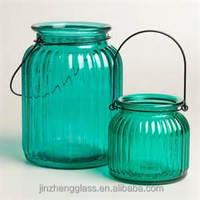 beautiful teal Hanging Ribbed Tea Light Lanterns for wedding