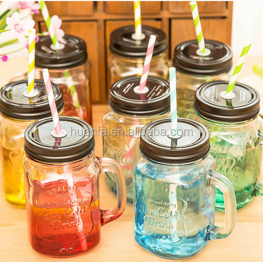 News products of 2016 wholesale 500ml colorful logo printing drinking glass mason jar with handle and metal lids in stock