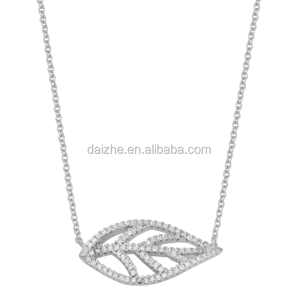 New design fashion <strong>silver</strong>/brass high quality pave zirconia leaf necklace for ladies