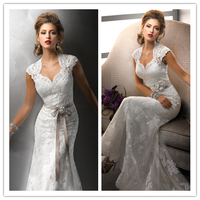 Free veil cap sleeve full lace wedding dress