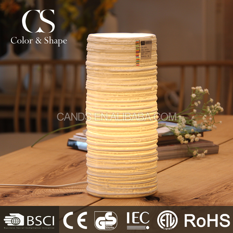 Popular creative indoor decorative tube ceramic table lamp