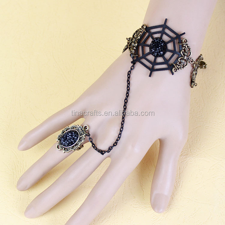 Womens spider web bracelet with ring