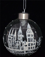 New design hanging christmas ornament and decoration, clear glass christmas printed ball with castles and LED light