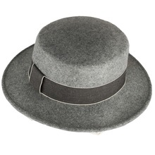ABPF Grey Wool Felt Wide Brim Winter Formal Bowler Hats With Ribbon