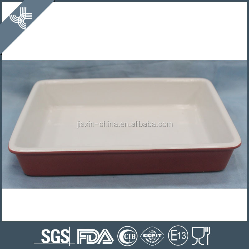 Wholesale cheap rectangular pink microwave ceramic baking dishes
