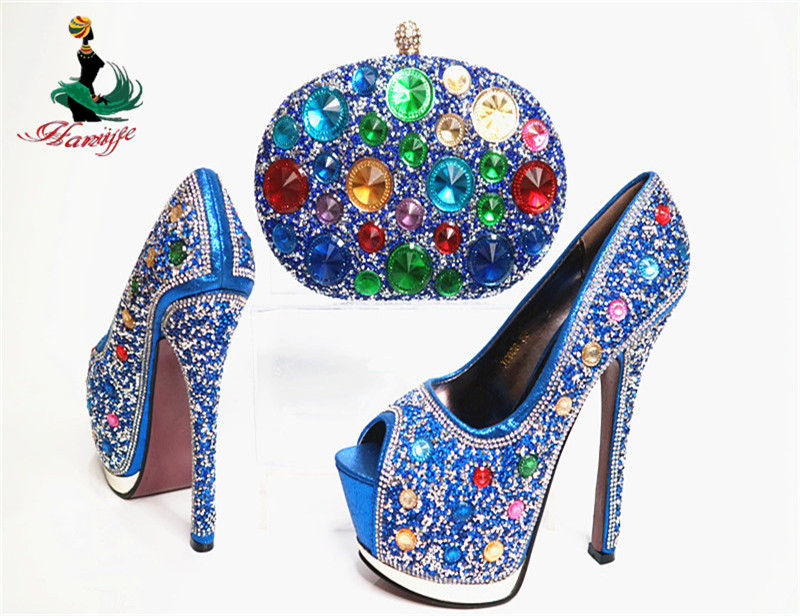 Luxury Party Italian Shoes and Bag G29-2 crystal wedding shoes and purse to match