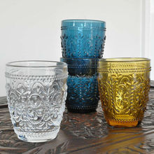 Glassware factory directly supply made in China glass cups with engraved surface color glass water cup