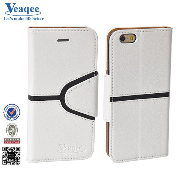 Veaqee China supplier wallet card holder flip leather case for iphone 6