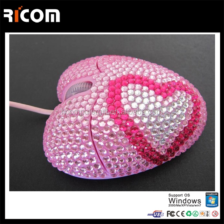 Top Selling Optical Wired USB rhinestone mouse,heart shape computer mouse for women