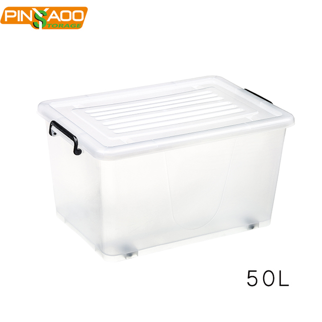 50L Home plastic crystal clear storage box with wheels