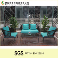 Modern Outdoor Garden PE Plastic Rattan Rope set foshan liyoung living room furniture rattan sofa set