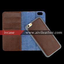 Handmade Genuine Leather Detachable Phone Case for Iphone 6s Wallet Cae