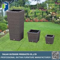 Flower pots rattan for garden, Weather Resistant big flower pot