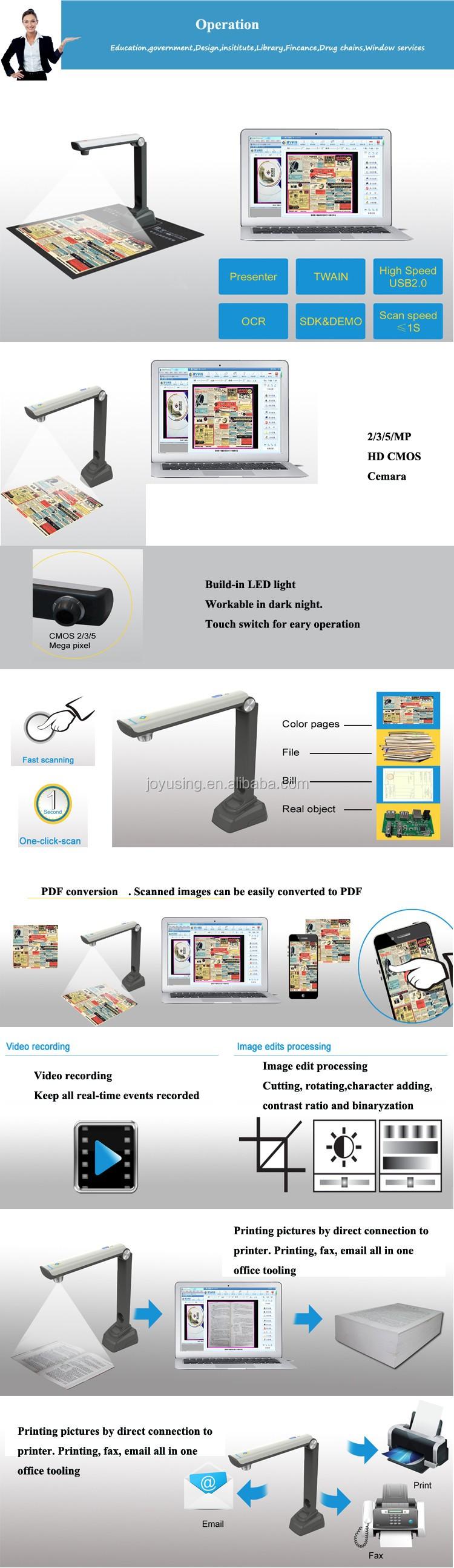 A4 cadre 5MP mini caméra OCR SDK portable document scanner