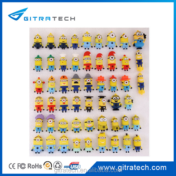 2014 Custom logo All kinds of cartoon people shape usb flash drive for Christmas holiday gift