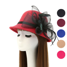 Winter Autumn British Style Hat For Lady Large Mesh Yarn Feather Flower Hat For Church Women Hats From China