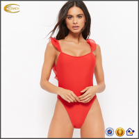 2018 New design one pieces red swimwear beachwear high waisted sexy low back knit women swimwear 2018