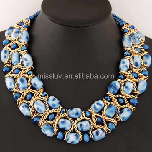 Blue glass stone beads statement necklace golden chain wrist beads statement necklaces for valentine gifts