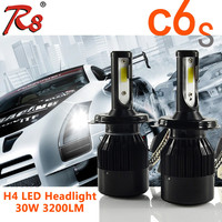 High performance car bulbs COB H4 H13 6k led headlights C6S 30W 3200LM auto led bulb replacements