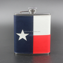 Leather wrap hip flask stainless steel ,hip flask leather 12.6*9.5*2.2cm Leather jugs