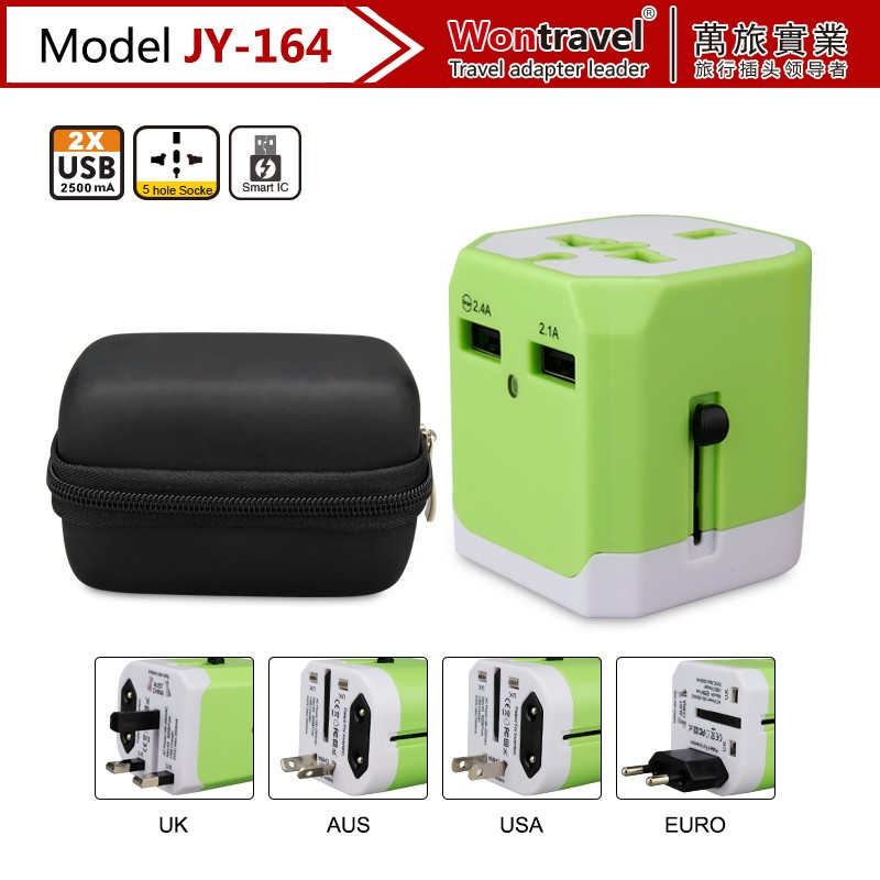 JY-164 Two USB Universal Travel Charger Wall Adapter Charging Port EU AU US UK Plug for mobile phone / tablet