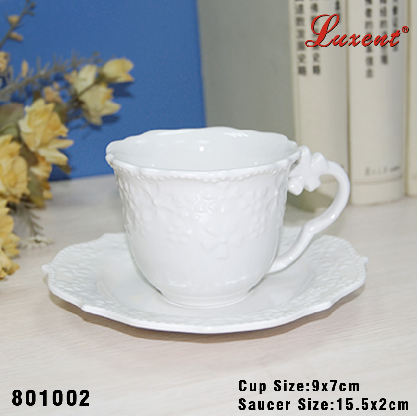 Ceramic hotel use plain white coffee shop cup and saucer