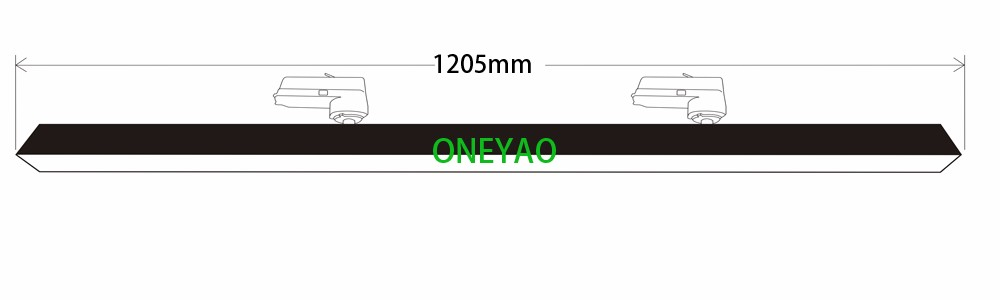 3 phase 50W LED track linear light