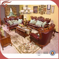 antique luxury leather sofa set, fashionable living room sofa furniture