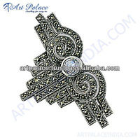 Antique Silver Cubic Zirconia & Gun Metal Marcasite Brooch, 925 Sterling Silver Jewelry