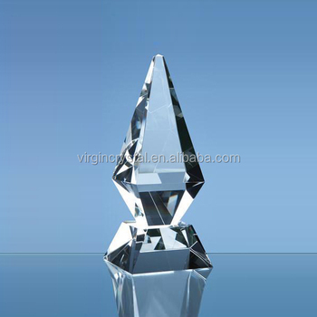 Wholesale different size cone shape crystal glass trophy with custom logo for business gift