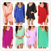 2014 new ladies women open cold shoulder Slit long sleeve summer Asymmetrical Hem light candy color Chiffon Dress