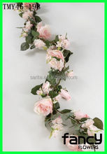 New Arrival Decorative Artificial Flower Garland Rose Garlands Pink 6 ft