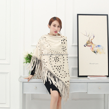 Factory direct lady bounce soft leather tassel shawl white triangular suede shawl and cape