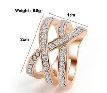 2016 Alibaba Rose Gold Plated Ring Jewelry Inlaid white CZ Stone For Women Engagement Ring